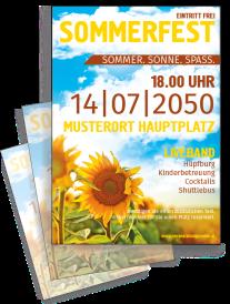 Flyer Sommerfest Sonnenblume Gelb A4 Einseitig