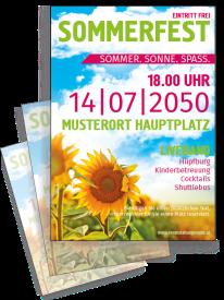 Flyer Sommerfest Sonnenblume Gruen A4 Einseitig