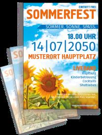 Flyer Sommerfest Sonnenblume Orange A4 Einseitig