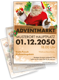 Flyer Adventmarkt Santa Clause Gold