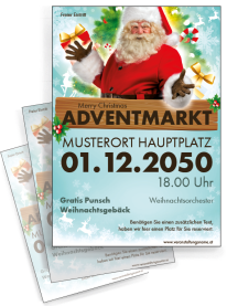 Flyer Adventmarkt Santa Clause Hellblau
