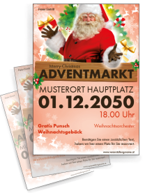 Flyer Adventmarkt Santa Clause Rot