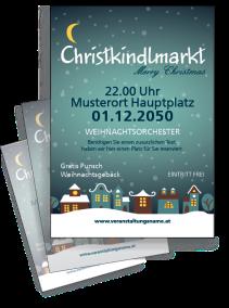 Flyer Weihnachten Stadtlichter Blau
