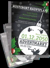 Flyer Weihnachten Zweig Schwarz