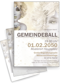 Flyer Ball Eiskoenigin Gold A4