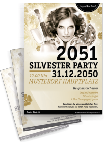 Flyer A4 Silvester Happy New Year Gold