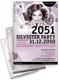 Flyer A4 Silvester Happy New Year Rosa