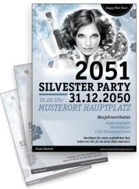 Flyer A4 Silvester Happy New Year Silber
