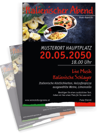 Flyer Italienischer Abend Buon Appetito Rot