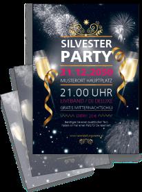 Flyer Silvester Feuerwerk Schwarz