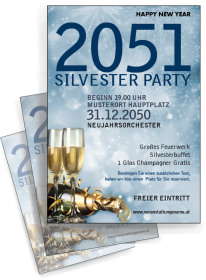 Flyer Silvester Goldrausch A4 Blau