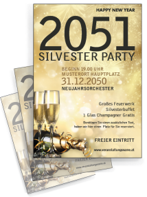 Flyer Silvester Goldrausch A4 Gold