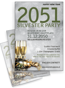 Flyer Silvester Goldrausch A4 Silber