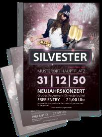 Flyer Silvester Milady Violett