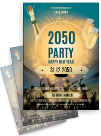 Flyer Silvester Party Blau A4