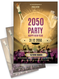 Flyer Silvester Party Gold A4