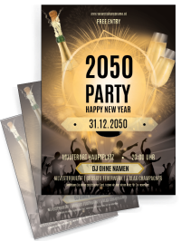 Flyer Silvester Party Schwarz A4