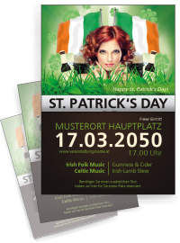 Flyer St. Patricks Day Irland A4 Schwarz
