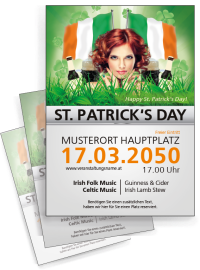 Flyer St. Patricks Day Irland A4 Weiss
