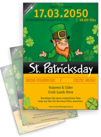 Flyer St. Patricks Day Leprechaun A4 Orange