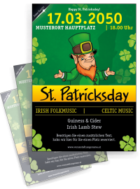 Flyer St. Patricks Day Leprechaun A4 Schwarz