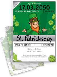 Flyer St. Patricks Day Leprechaun A4 Weiss