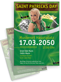 Flyer St. Patricks Day Maedchen A4 Gruen