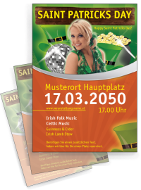 Flyer St. Patricks Day Maedchen A4 Orange