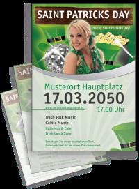 Flyer St. Patricks Day Maedchen A4 Weiss