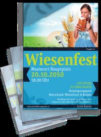 Flyer Wiesenfest Dirndl A4 Blau
