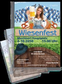 Flyer Wiesenfest Tracht A4 Blau