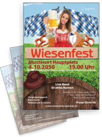 Flyer Wiesenfest Tracht A4 Rot