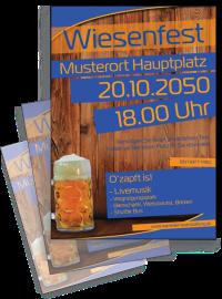 Flyer Wiesenfest Zuenftig und Urig A5 Blau