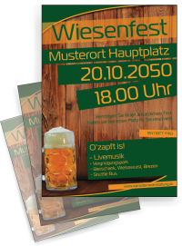 Flyer Wiesenfest Zuenftig und Urig A5 Gruen